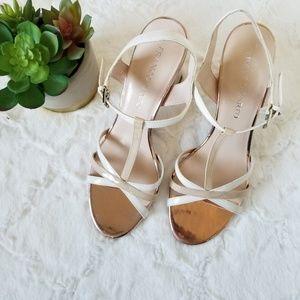 Franco Sarto Ebba White Beige Chunky Heel Sandal